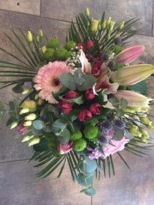 Kód: L003  obsah:  gerbera, lilie, alstromelie, santini ,eustoma, zeleň